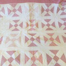 Antique Twin Patchwork Quilt Red White Primitive Devil's Puzzle Altered