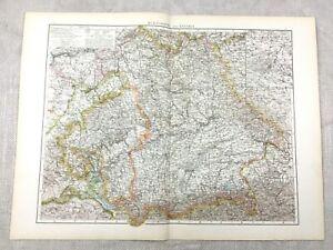 1895 Map of Germany Wurtemburg Bavaria German Empire Antique 19th Century Large