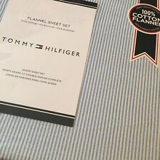 Tommy Hilfiger QUEEN Flannel Sheet Set ITHACA OXFORD STRIPE Chambray Blue Free📦