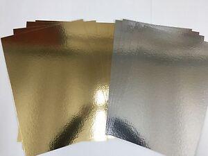 10 X Gold & Silver Card Board Mirror - Xmas Metallic 1200micron 1.2mm