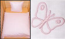 Baby Bettwäsche 80x80 Geburt Weiß rosa Schmetterling Baumwolle Kinderwagen