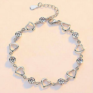 Crystal Heart Linked Charm Bracelet 925 Sterling Silver Womens Jewellery Gift UK