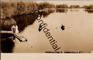 Real Photo Boats Dock Oswegatchie River Rensselaer Falls Canton New York RP A942