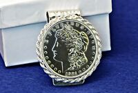 Silver Hammered Hinged U.S. Morgan Silver Dollar Coin Money Clip Roped Bezel