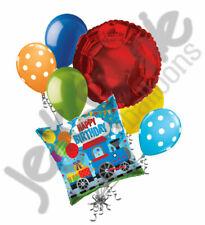 7 pc Choo Choo Train Happy Birthday Balloon Bouquet Party Decoration Boy Two 2nd