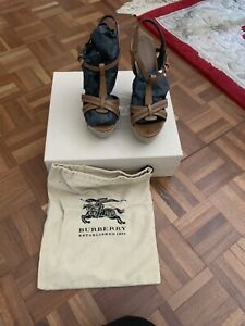 Burberry Leather Tan Wedge Espadrilles Size 38 UK 5