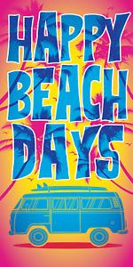 Happy Beach Days Velour Beach Bath Towel 30x60