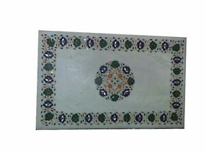 """48"""" Marble Dining Table Top Inlay Rare Semi Antique Center Coffee Table AR0915"""