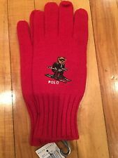 NWT Polo Bear By Ralph Lauren Gloves Ski Bear Tudor Red Gloves Mittens One Size