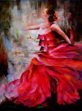 FLAMENCO Dancer Original Oil Impressionism Painting Palette Knife Art Red Rose