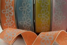 💠 Pink, Yellow, Orange or Baby Blue Ribbon with Silver Flower Detail 25mm 💠