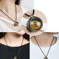 Space Universe Stars Glass Ball Pendant Crystal Planet Pattern Leather Necklace
