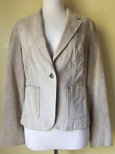 Isaac Mizrahi for Target Light Tan Stone Color Suede Leather Jacket Sz SMALL S