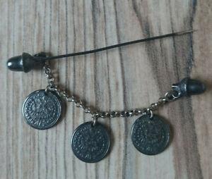 Antike Vintage Anstecknadel Trachtennadel mit 3 Münzen Doppeladler an Kette