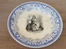 super rare Antique Boch F Keramis Louis XIV  old Plate White and blue