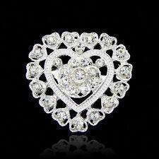 Wedding Bonquet Silver Diamante Crystal heart Women gift Brooch Brooches Pin