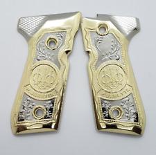 New Beretta Replacement Handgun Grips for 92 / 96 FS Series Pistols Gold Nickel