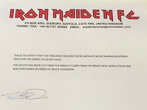 Iron Maiden original Bruce Dickinson stage setlist w Fan Club letter rare promo