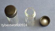 New 5pcs 50ml Empty Sample Vials Clear Glass Bottles with Black Plastic cap