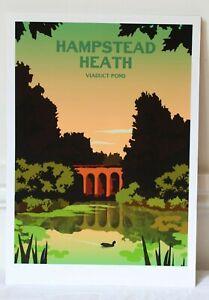 Hampstead Heath - Viaduct Pond, Hannah Elizabeth, A3 Print / Poster, New