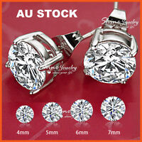 925 STERLING SILVER SIGNITY ROUND LAB CT DIAMOND MENS LADIES STUD EARRINGS GIFT