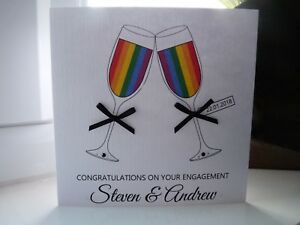 Personalised LGBT Gay Lesbian Same Sex Engagement Wedding Day Anniversary Card
