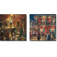 Red Jazz & New Orleans Street by Didier Lourenco 2pc Gallery Wrap Canvas Giclees