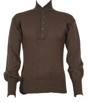GI Army Brown Sweater 5 Button Genuine Us Military Wool/Acrylic Sweater