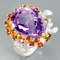 Top color 25ct+ Natural Amethyst 925 Sterling Silver Ring Size 8.5/R89397