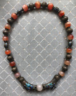 (B) Antique Chinese Silver Ch'ing Ching Dynasty Agate Dragon Enamel Necklace