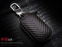 Brown Car Key Case Holder Wallet Genuine Leather Keychain Vintage Men Package