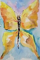 Yellow Butterfly insect bug 9x6 watercolor painting art Delilah