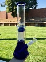 "Blue Water Pipe Bong Hookah Glass 14"" Ten Arm Shower Head 14mm Bowl Ice Catcher"