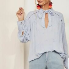Free People Wishful Moments Blue Tunic Top Oversized Embroidered XS New 201609
