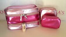 Victoria's Secret Cosmetic Bag Trio Makeup Organizer Travel Lotion Case Set VS