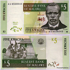 MALAWI billet neuf de 5 KWACHA Pick36a VILLAGEOIS BROYANT LE GRAIN  1997