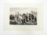 HORSE FARM MARKET STALLION MARE, Antique Old 1883 RAUBER Art Print Etching RARE!