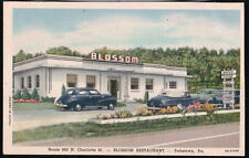 POTTSTOWN PA Blossom Restaurant Route 663 Vtg 1950's Cars Postcard Early Old PC