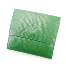Louis Vuitton Wallet Purse Folding wallet Epi Green Woman Authentic Used Y1490