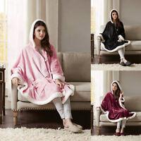 Women Winter Warm ButtonDown Plush Hooded Throw Wrap Wearable Blanket Cover Coat
