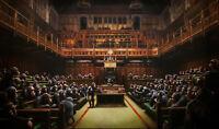 Banks Devolved Parliament Apes Repro Reproduction Print Poster Dibond Plexiglass