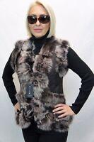 Short Women 100% GENUINE SHEEPSKIN SHEARLING LEATHER Toscana Fur Vest 3 Colors