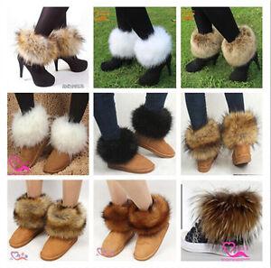 Women Boot Shoes Cover Warm Faux Fox/Rabbit/Raccoon Fur Lower Ladies Leg Warmer