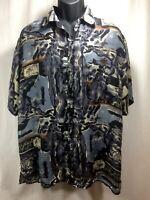 Surprise 100% Silk Mens Size Large Short Sleeve Button Front Shirt Mutli-Color