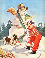 Christmas time, Boy with Dog and Snowman by H Hoecker