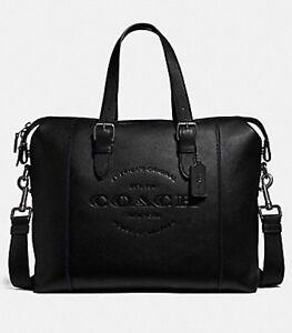 New Coach F30620 Men's Hudson Brief Leather Messenger Bag Crossbody Bag Black