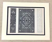 1842 Antico Stampa 16th Secolo Libro Rilegatura Cover Design Ornamentation Art