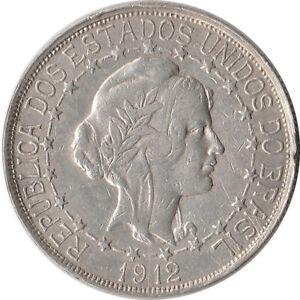 1912 Brazil 2000 Reis Large Silver Coin KM#511
