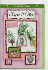 Carte Porte-Bonheur.Joyeux 1er Mai.carte relief.17 cm x 11,5 cm.