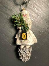 Midwest Cannon Falls Pam Schifferl Folk Art White Santa Pine Cone Ornament Ps
